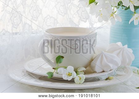 Romantic Composition With Tea Cup, Zephyr And Apple Flowers