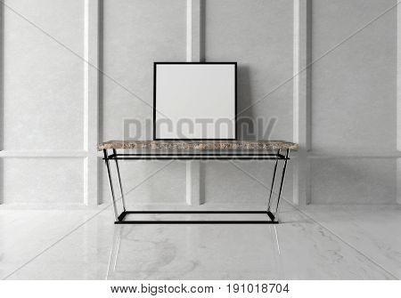 Mock up poster in the modern interior with a console marble table. 3D rendering.