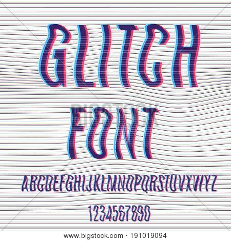 Glitch Font With Distortion Stereoscopic Effect.