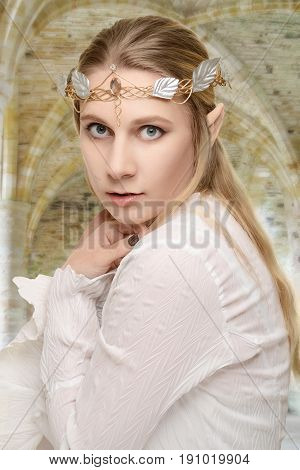 portrait female elf with crown with stone arch in background