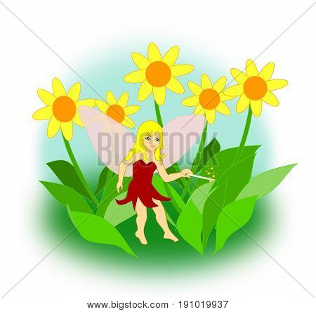 A little fairy with a magic wand sitting between yellow flowers.