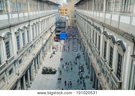 Florence, Italy - June, 5, 2017: yard of Uffizi gallery in Florence, Italy