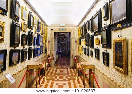 Florence, Italy - June, 5, 2017: interior of Pitti palace in Florence, Italy