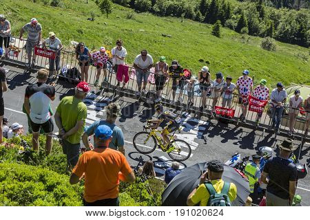 Pas de Peyrol France - July 62016: The French cyclist Romain Sicard of Direct Energie Team riding on the road to Pas de Pyerol (Puy Mary) in Cantalin the Central Massif during the stage 5 of Tour de France on July 6 2016.