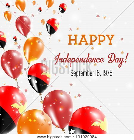 Papua New Guinea Independence Day Greeting Card. Flying Balloons In Papua New Guinea National Colors