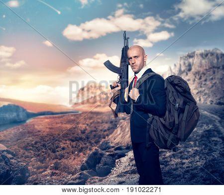Professional agent on secret mission concept