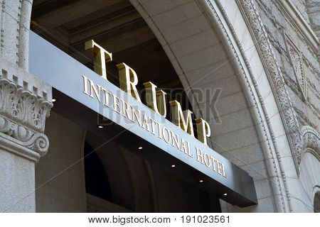 WASHINGTON,  DC - JUNE 13 2017: Photo of an entrance to Trump International Hotel, one of the businesses at the center of a lawsuit the attorneys general of Maryland and the District of Columbia have filed against President Trump.