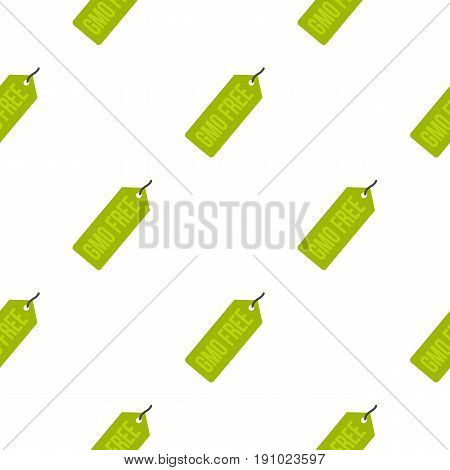 GMO free green price tag pattern seamless flat style for web vector illustration