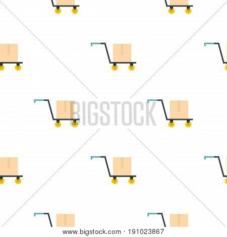 Hand truck with cardboard box pattern seamless flat style for web vector illustration