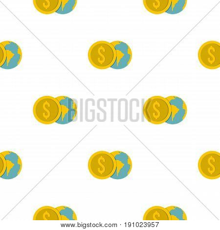 Globe and dollar coin pattern seamless flat style for web vector illustration