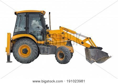 image of yellow tractor isolated on white background