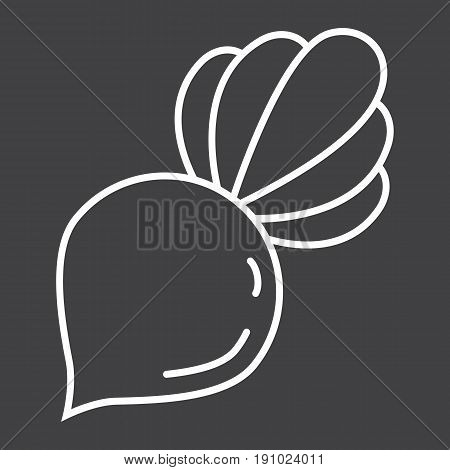 Beet line icon, vegetable and diet, vector graphics, a linear pattern on a black background, eps 10.