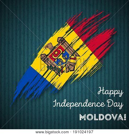 Moldova Independence Day Patriotic Design. Expressive Brush Stroke In National Flag Colors On Dark S