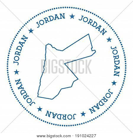 Jordan Vector Map Sticker. Hipster And Retro Style Badge With Jordan Map. Minimalistic Insignia With