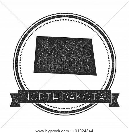 North Dakota Vector Map Stamp. Retro Distressed Insignia With Us State Map. Hipster Round Rubber Sta