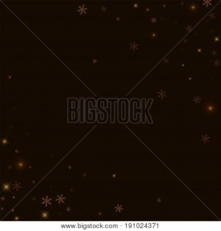 Sparse Starry Snow. Abstract Chaotic Mess On Black Background. Vector Illustration.