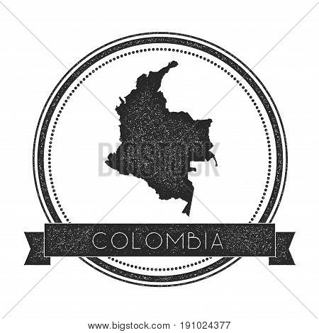 Retro Distressed Colombia Badge With Map. Hipster Round Rubber Stamp With Country Name Banner, Vecto