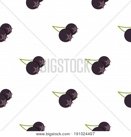 Fresh chokeberry or aronia berry pattern seamless flat style for web vector illustration