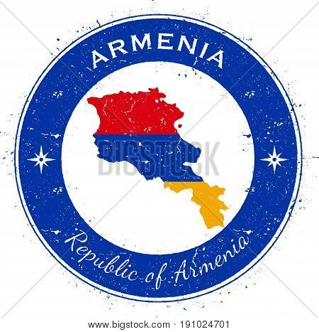 Armenia Circular Patriotic Badge. Grunge Rubber Stamp With National Flag, Map And The Armenia Writte