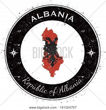 Albania Circular Patriotic Badge. Grunge Rubber Stamp With National Flag, Map And The Albania Writte