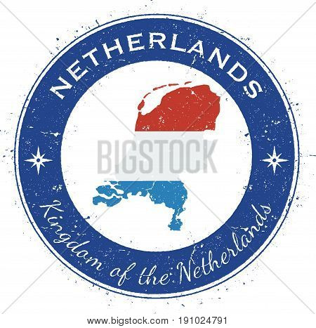 Netherlands Circular Patriotic Badge. Grunge Rubber Stamp With National Flag, Map And The Netherland