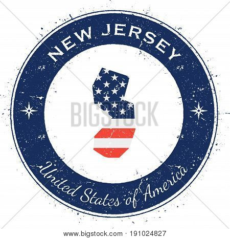New Jersey Circular Patriotic Badge. Grunge Rubber Stamp With Usa State Flag, Map And The New Jersey