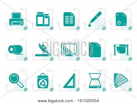 Stylized Commercial print icons - vector icon set