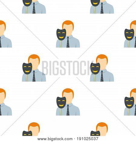 Businessman holding fake mask smile pattern seamless flat style for web vector illustration
