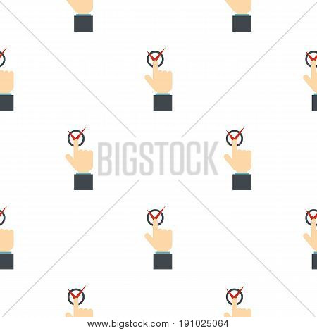 Hand finger pressing button with red tick pattern seamless flat style for web vector illustration