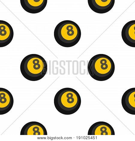 Black snooker eight pool pattern seamless flat style for web vector illustration