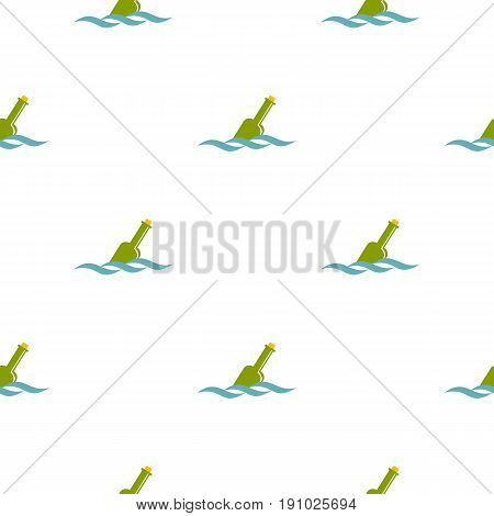 Glass green bottle in a water pattern seamless flat style for web vector illustration