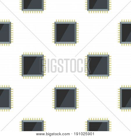 Computer microchip pattern seamless flat style for web vector illustration