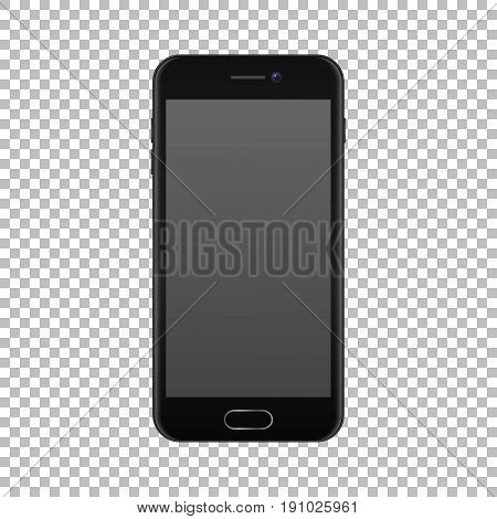 Realistic smartphone icon isolated on transparent background. Vector design template, EPS10 illustration, mockup.