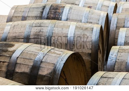 Old Bourbon Barrels Waiting To Be Emptied