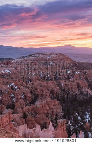 Pink Sunrise Over Mesa In Bryce