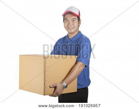 portrait of asian delivery man holding carton box toothy smiling face for logistic and delivering business theme