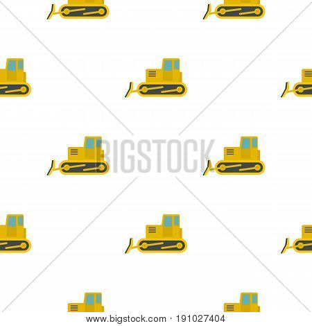Yellow bulldozer con. Flat illustration of yellow bulldozer vector pattern seamless flat style for web vector illustration