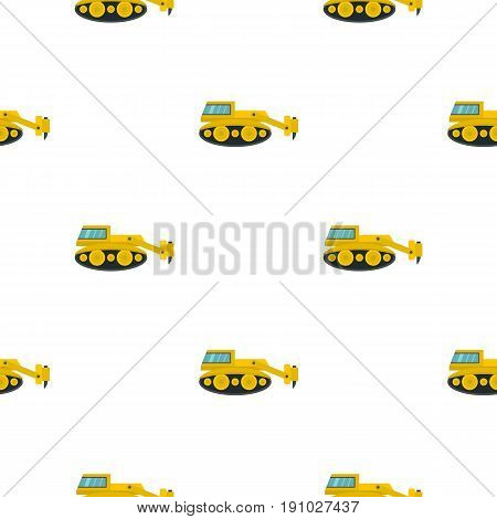 Excavator with hydraulic hammer pattern seamless flat style for web vector illustration