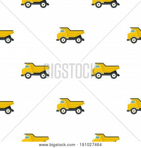 Yellow dump truck pattern seamless flat style for web vector illustration