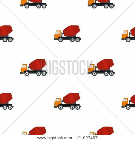 Truck concrete mixer pattern seamless flat style for web vector illustration