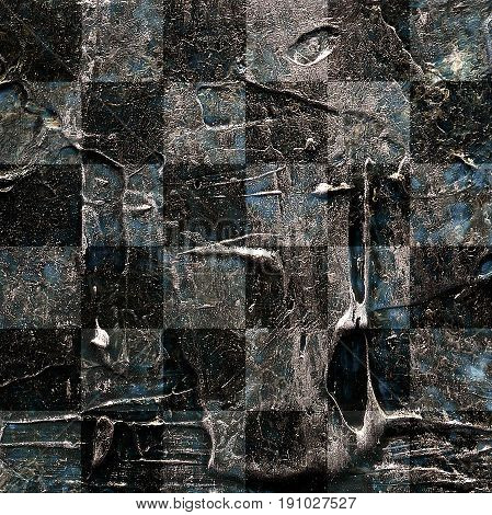 Grunge textured abstract checkered seamless pattern. Checkered finish flag painted with acrylic and oil paints in shades of brown gray and blue on canvas. Rows squares with distressed vintage texture