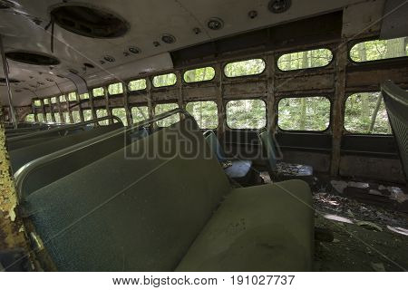 Trolley Car Abandoned In Woods