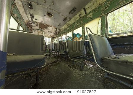 Peeling Seats Inside Abandoned Trolley Car