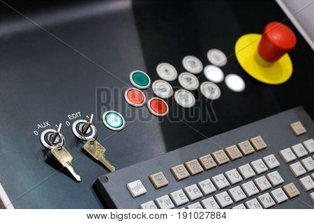 Control panel of modern cnc industrial equipment. Selective focus.