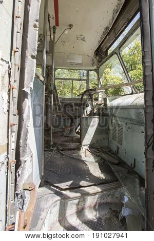Drivers Seat In Abandoned Bus