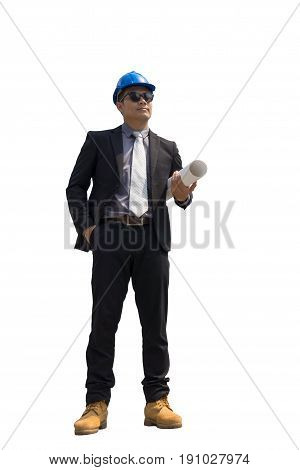 Asian engineer architect professional occupation wearing suit and helmet standing holding paper roll plan and looking away on white background