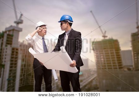 Asian Businessman Discuss With Engineer Architect Professional Occupation Corporate City Looking Awa