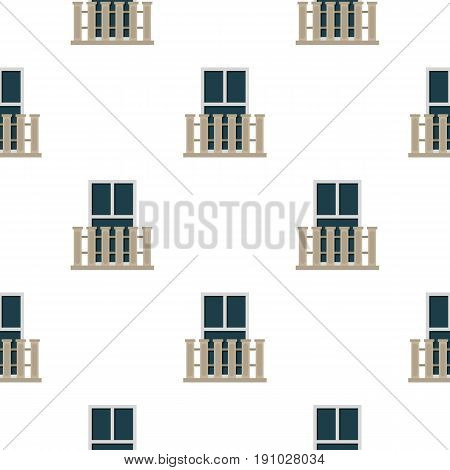 Balcony balustrade with window i pattern seamless flat style for web vector illustration