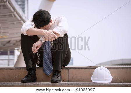 Asian Businessman Professional Failed Or Upset In Job Or Career For Working Business Problem Concept