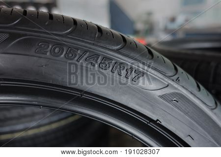 Car Tire Size For Sale Represents The Dimensions And Construction Type Of Tyre Show On Background